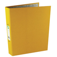 Q-Connect 2 Ring 25mm Paper Over Board Yellow A4 Binder (Pack of 10) KF01473