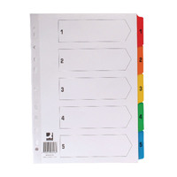 Q-Connect Multi-Punched 1-5 Reinforced Multi-Colour A4 Index Numbered Tabs KF01518