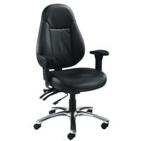 Avior Atlas 24 Hour Leather Operator Black Chair KF03359