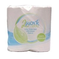 2Work White 2 Ply Toilet Roll 200 Sheets (Pack of 36) KF03809