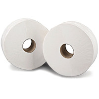 2Work White 2 Ply Mini Jumbo Toilet Roll 200 Metres (Pack of 12) KF03811
