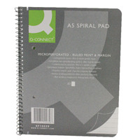 Q-Connect Spiral Pad Executive A5 80 Leaf Ruled Feint and Margin KF10039
