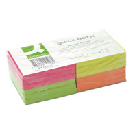 Q-Connect Repositionable 76 x 76mm Neon Quick Notes Pack of 12 KF10508