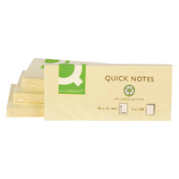 Q-Connect Repositionable Recycled 38 x 51mm Yellow Quick Notes Pack of 12 KF22367