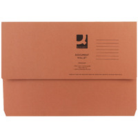 Q-Connect Foolscap Orange Document Wallet Pack of 50 KF23014