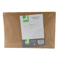 Q-Connect Square Cut Folder 170gsm Kraftliner Foolscap Buff  KF23025