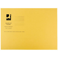 Q-Connect Square Cut Folder Light-Weight 180gsm Foolscap Yellow  KF26027