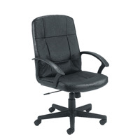 Jemini Thames Leather Look Executive Chair With Arms Black KF50189