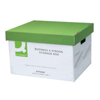 Q-Connect Extra Strong Business Storage Box W327xD387xH250mm Green and White KF75007