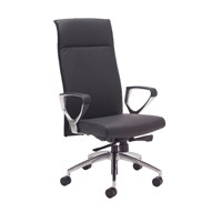 Avior Sicily High Back Slim Leather Chair and Arms Black KF838752