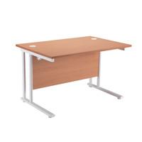 First Rectangular Cantilever Desk 1400mm Beech with White Leg