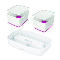 Leitz Mybox Large with Lid Pink (Pack of 2) with Free Tray LZ810790