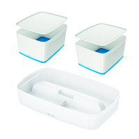 Leitz Mybox Large with Lid Blue (Pack of 2) with Free Tray LZ810791