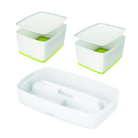 Leitz Mybox Large with Lid Green (Pack of 2) with Free Tray LZ810792