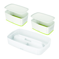 Leitz Mybox Small with Lid Green (Pack of 2) with Free Tray LZ810796