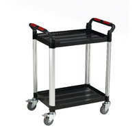 Barton Black and Silver 2 Shelf Standard Plastic Trolley White T2SS