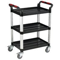 Barton Black and Silver 3 Shelf Standard Plastic Trolley White T3SS