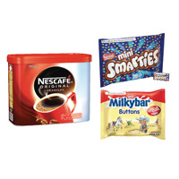 Nescafe 750g Buy 2 FOC Smarties Minis 260g and Milkybar Buttons Treat Size 189g NL819831