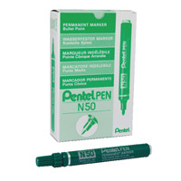 Pentel N50 Permanent Green Marker Bullet Tip (Pack of 12) N50-D