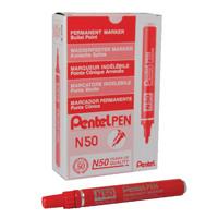 Pentel N50 Permanent Red Marker Bullet Tip (Pack of 12) N50-B
