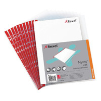 Rexel Nyrex Pocket PVC Open Side Clear Pk 25 Foolscap R149L 12263