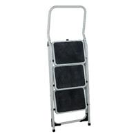 Folding Step Stool 3 Tread High Back White Aluminium 321678