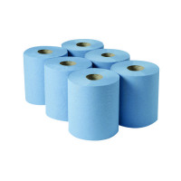 2Work Centrefeed Roll 3-Ply Blue 135m (Pack of 6) 2W00083