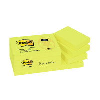 Post-it Recycled 38 x 51mm Canary Yellow Notes (Pack of 12) 653-1