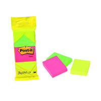 Post-It Neon Colour Notes 38X51mm 100 Sheet Pad Assorted (Pack of 36) 6812