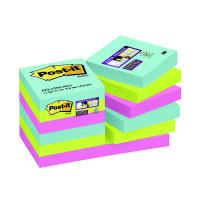 Post-it Notes Super Sticky 47.6 x 47.6mm Miami (Pack of 12) 622-12SS-MIA
