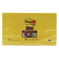 Post-it Super Sticky 76x127mm Yellow Notes (Pack of 6) 655-S6