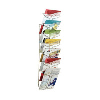Alba Wall Mounted 7 Pocket Literature Holder A4 Chrome DD7M