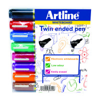 Artline Assorted 2-in-1 Whiteboard Markers Bullet/Chisel Tip (Pack of 8) EK525TA