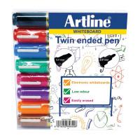 Artline 2-in-1 Whiteboard Marker Bullet/Chisel Tip Assorted (Pack of 8) EK525TA