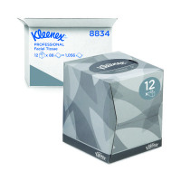 Kleenex 2-Ply White Facial Tissue Cube 90 Sheets (Pack of 12) 8834