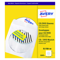 Avery Paper CD/DVD Sleeve XL Window White (Pack of 100) SL1760-100