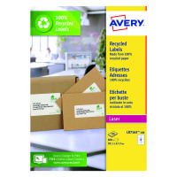 Avery Recycled Laser White Parcel Label 99.1 x 67.7mm 8 Per Sheet (Pack of 800) LR7165-100