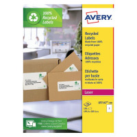 Avery Recycled Laser White Parcel Label 199.6 x 289.1mm 1 Per Sheet (Pack of 100) LR7167-100