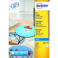 Avery Full Face Inkjet White CD Labels 2 Per Sheet Pack of 50 J8676-25