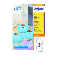 Avery White Full Face CD/DVD Laser Label 2 Per Sheet (Pack of 100) L7676-100