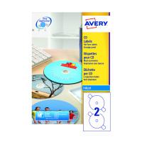 Avery Full Face Inkjet White CD Labels 2 Per Sheet Pack of 200 J8676-100