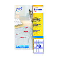 Avery Mini White Inkjet Labels 45.7 x 25.4mm 40 Per Sheet Pack of 1000 J8654-25
