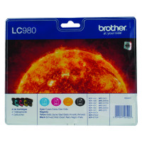 Brother LC-980 Black /Cyan/Magenta/Yellow Inkjet Cartridge (Pack of 4) LC980VALBP