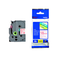 Brother P-Touch 18mm Red on White TZE242 Labelling Tape
