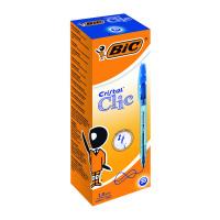 Bic Cristal Clic Retractable Ballpoint Pen Medium Blue (Pack of 20) 850733