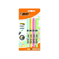 Bic Highlighter Grip Assorted Pastel (Pack of 4) 964859