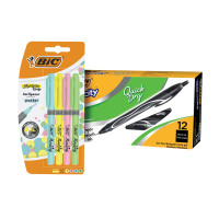 Bic Gel-ocity Quick Dry Pen Black (Pack of 12) FOC Bic Highlighter