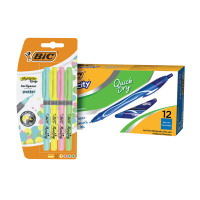 Bic Gel-ocity Quick Dry Pen Blue (Pack of 12) BC810749 FOC Bic Highlighter Grip Pastel (Pack of 4) 9