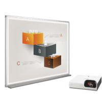 Bi-Office Bi-Bright 90in Whiteboard and Short Throw Projector Presentation Bundle BBS1991235