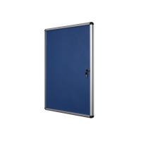 Bi-Office Lockable Internal Display Case 931x670mm 9xA4 Sheets Blue Felt Alumin Frame VT630107150